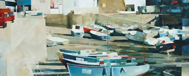 A painting of some boats in the harbour from David Weston museum