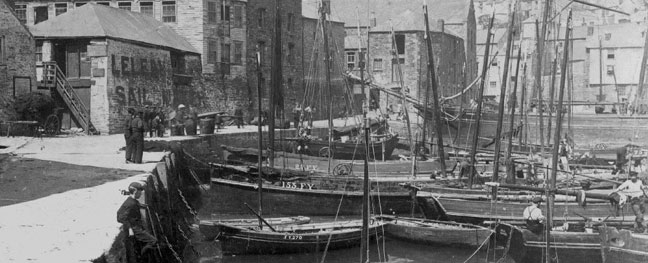 A black and white photograph of Mevagissey from Mevagissey Museum's website